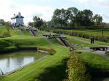 View of several of the locks at Foxton Lock Flight in England.