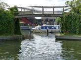 Willowtree Marina entrance at Bridge 19aa, Paddington Canal Arm, London.